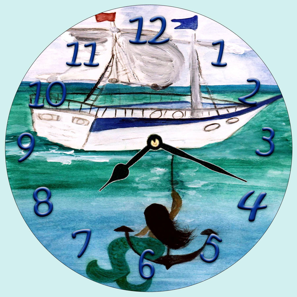Brunette Mermaid on the Anchor  Wall clock - Art Gifts by the Beach