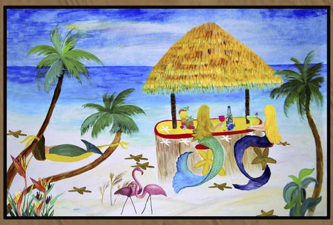 Mermaids Tiki Beach Bar Art Floor Mat