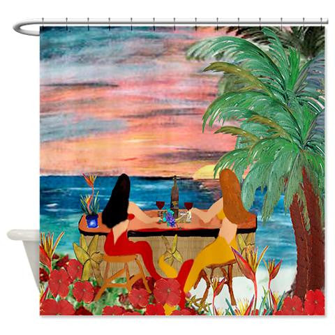 Mermaids wine tiki bar mermaid shower curtain