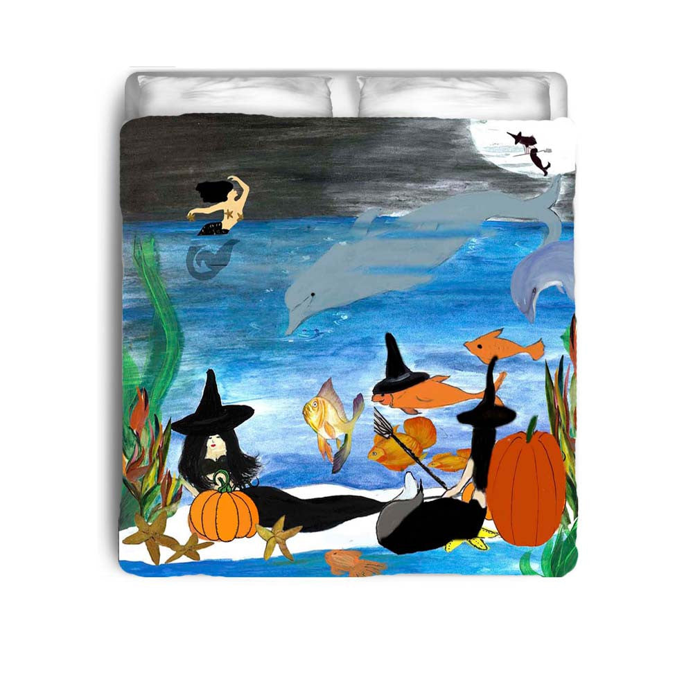 Halloween witch beach party in moonlight bedding – Art Gifts by ...