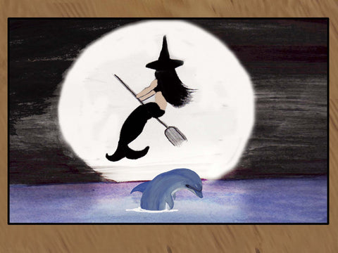 Halloween Mermaid Witch in the Moonlight Floor Mat