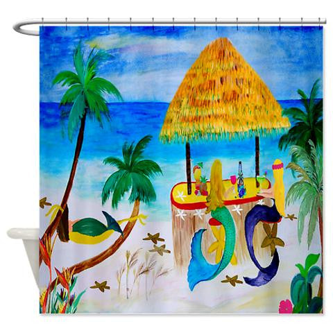 Mermaids tiki beach bar mermaid shower curtain