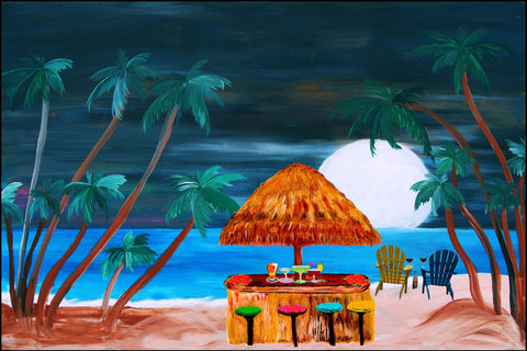 Beach tiki bar cocktails under the moonlight art floor mat