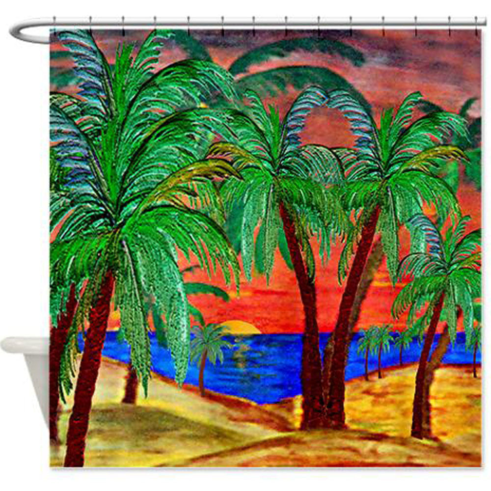 Palm shower curtain - Mountain Sunset Palms Palm Tree Coastal Shower Curtain