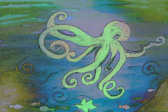 Octopus art beach towel