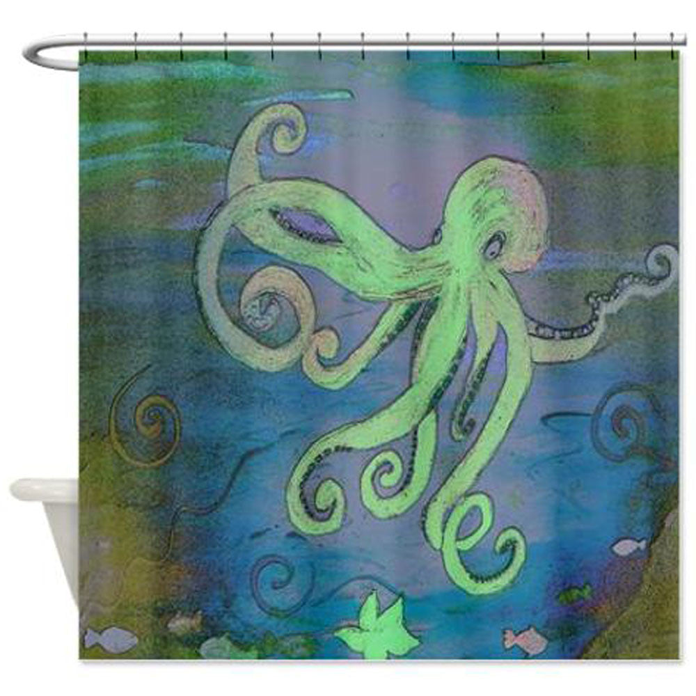 Blue Green Octopus Coastal Beach Shower Curtain