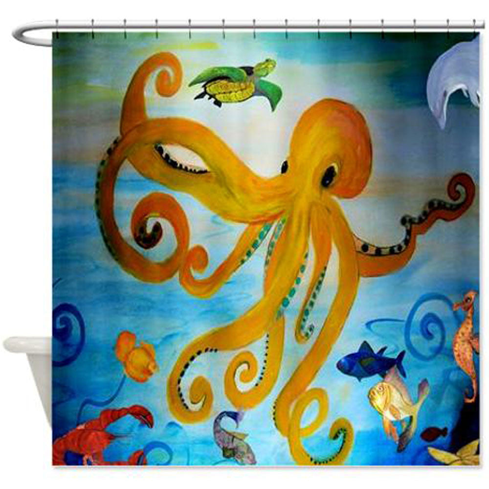 Yellow Octopus Coastal Beach Shower Curtain