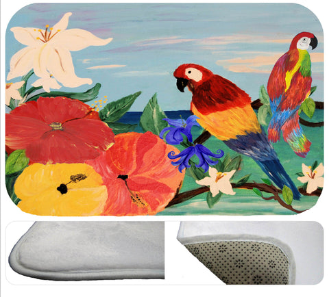 Parrot garden tropical soft non-skid floor mat
