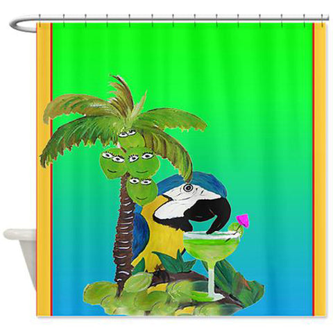 Parrot and margarita shower curtain