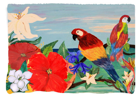 Parrots GardenTropical Bird Throw Blanket from my original art