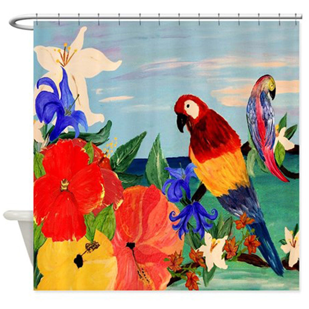 parrot garden tropical bird shower curtain