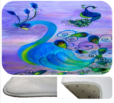 Peacock bird soft non-skid rug from art