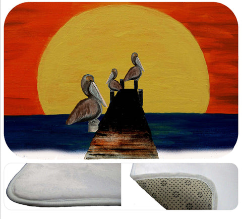 Pelicans sunset pier soft rug