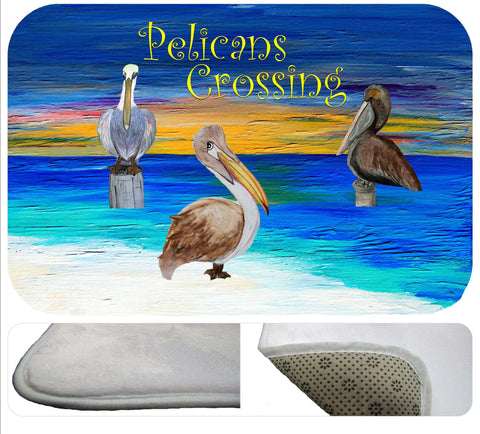 Pelicans crossing soft non-skid rug