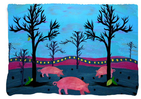 Pigs Farm Throw Blanket from my original art