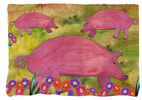 Pigs and Daisies Farm Throw Blanket from my original art