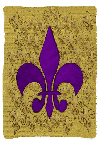 Vertical design - Purple and gold fleur de lis throw blanket from my original art