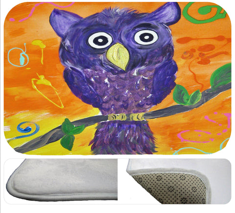 Purple owl wild bird soft rug