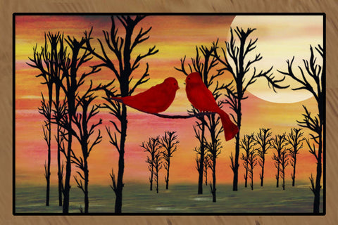 Red Birds art floor mat