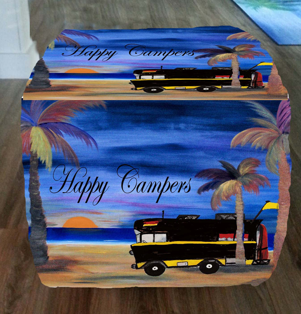 RV Happy camper art ottoman or foot stool - Art Gifts by the Beach
