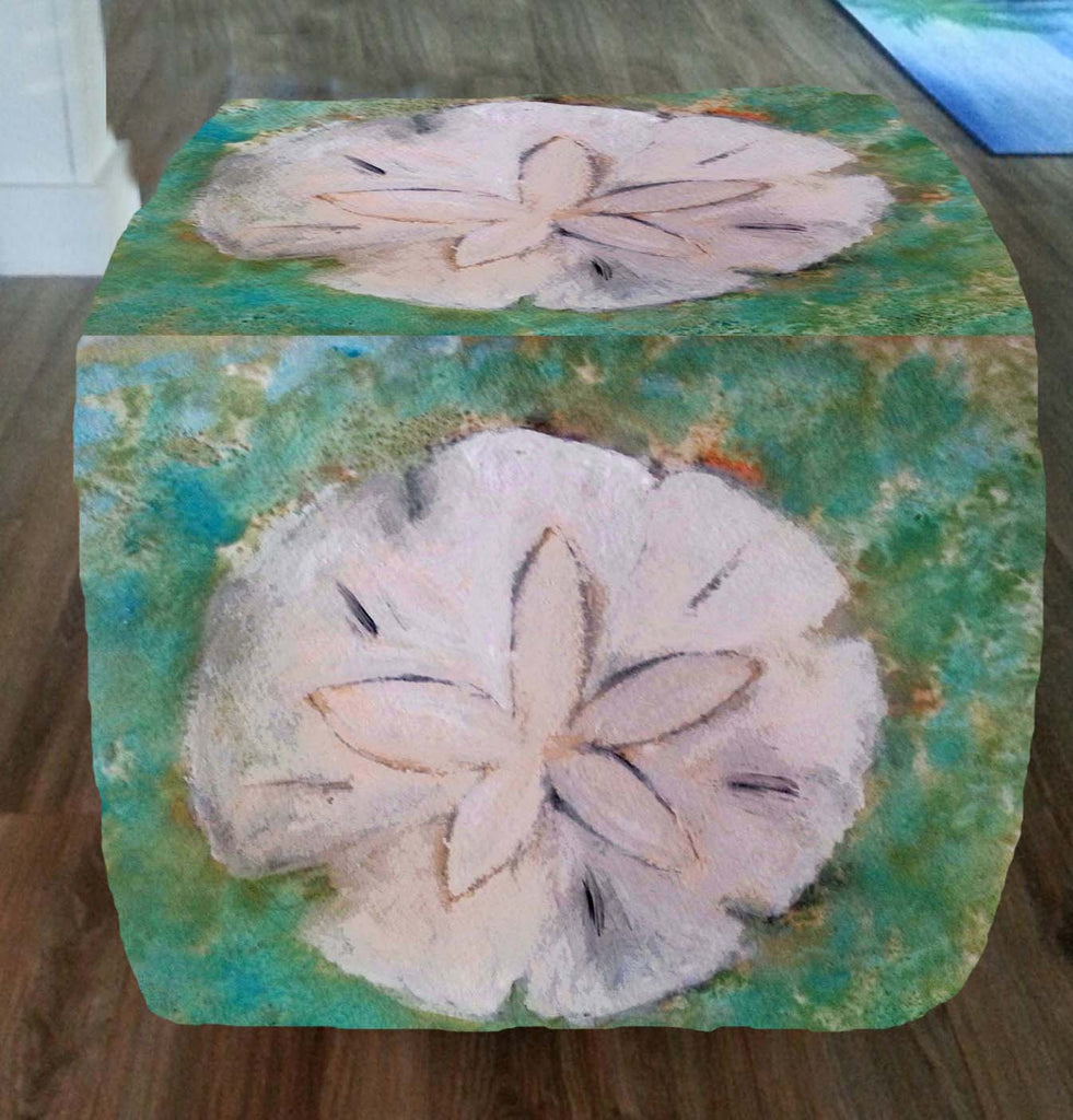 Sanddollar seashell art ottoman - Art Gifts by the Beach