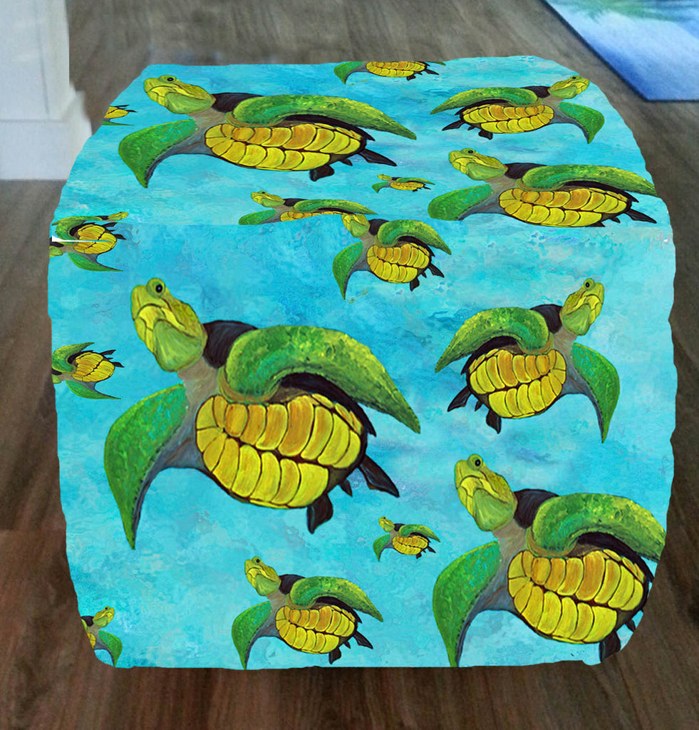 Sea turtles art ottoman - Art Gifts by the Beach