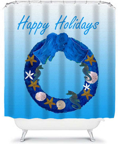 Happy Holiday Christmas Wreath Shower Curtain From My Art