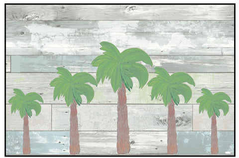 Palm tree on ship lap designed art floor mat