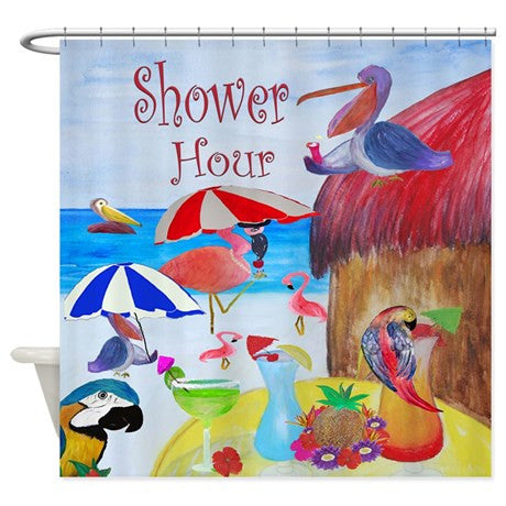 Shower cocktail hour funny birds on the beach shower curtain