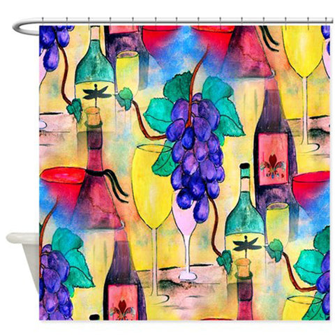 Grape escape wine bar shower curtain