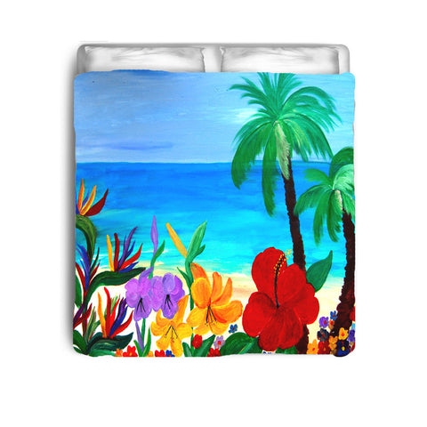 Tropical beach coastal floral bedding from my original art.