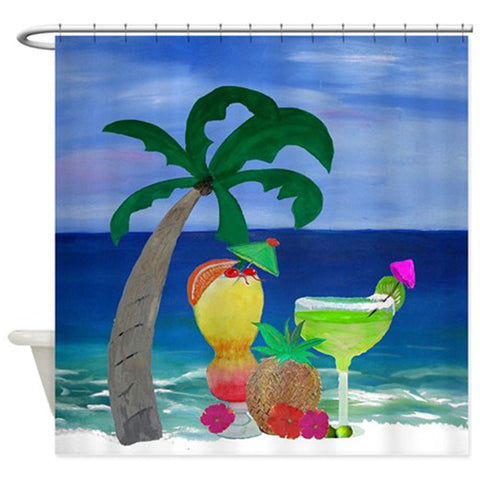 Tropical Drinks Beach tiki bar shower curtain