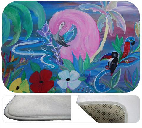 Tropical flamingo garden bath or kitchen floor mat from my art