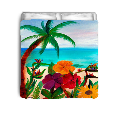 Tropical floral beach coastal bedding from my original art.