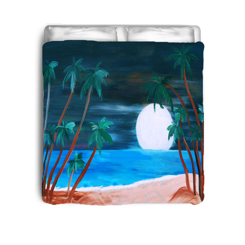 Tropical moonlight beach bedding comforter or duvet cover from my art.