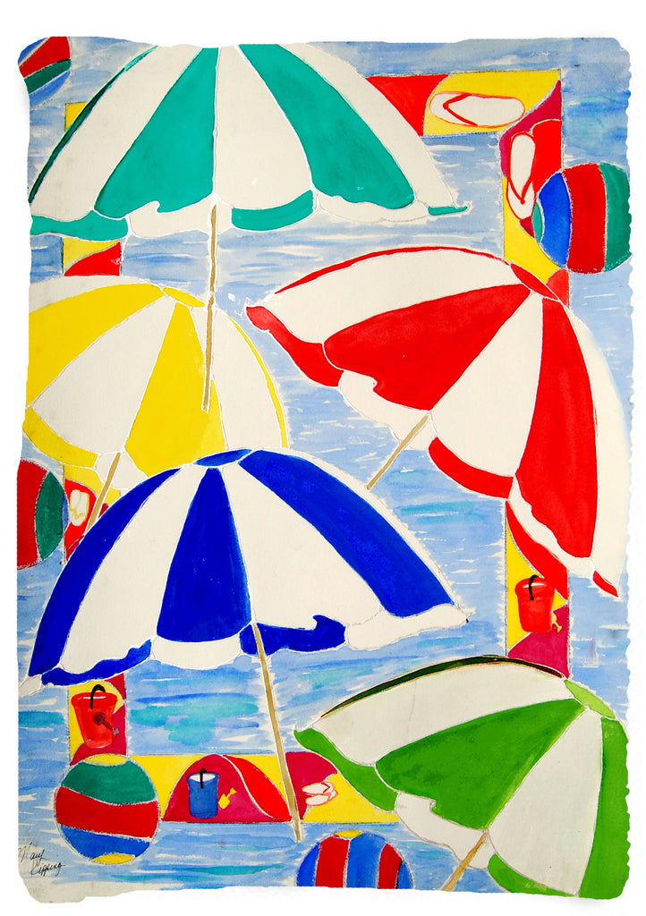 Vertical Colorful beach umbrellas throw blanket from my original art - Art Gifts by the Beach