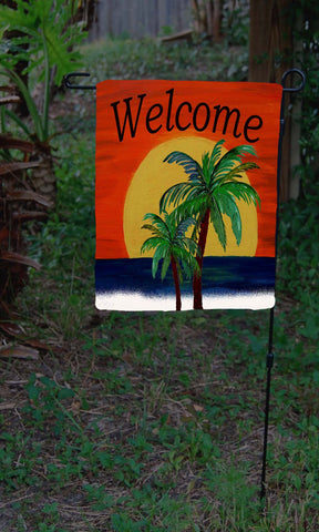 Welcome giant sunset beach garden flag