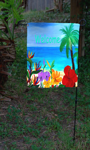 Welcome tropical beach garden flag