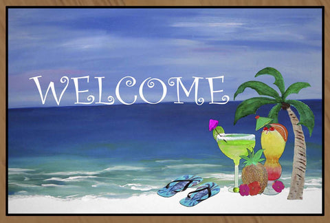 Welcome Tropical Drinks on the Beach Floor Mat