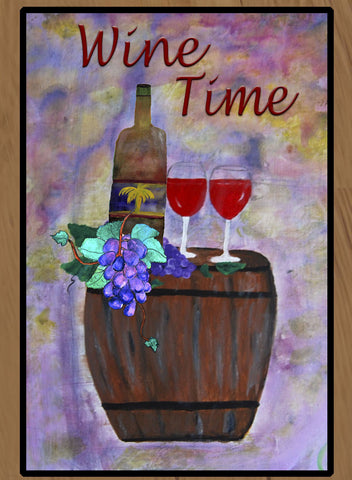 Wine Time Rustic Barrel