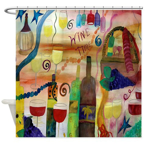 Wine time wine bar shower curtain