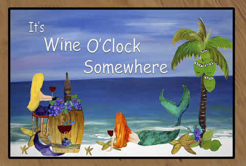 Mermaids Wine O'Clock Floor Mat from art