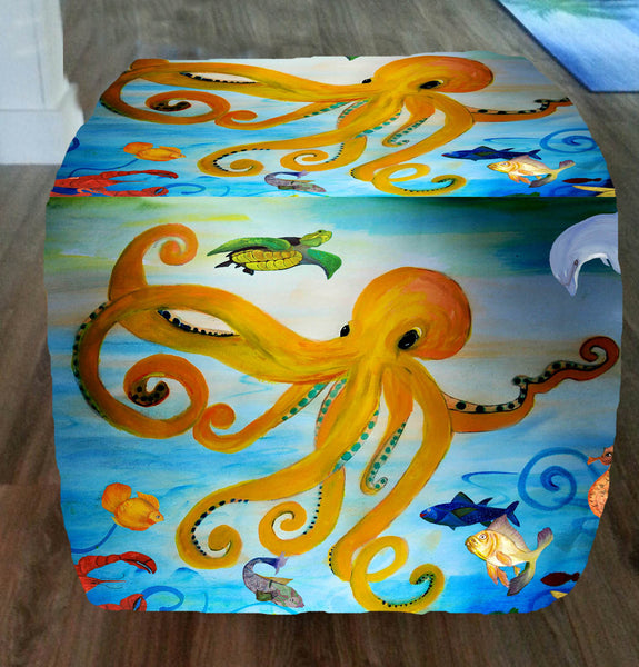 Yellow Octopus Party Art Ottoman Art Gifts By The Beach