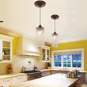 Instant Pendant Light with Descending Clear Crystal Shade