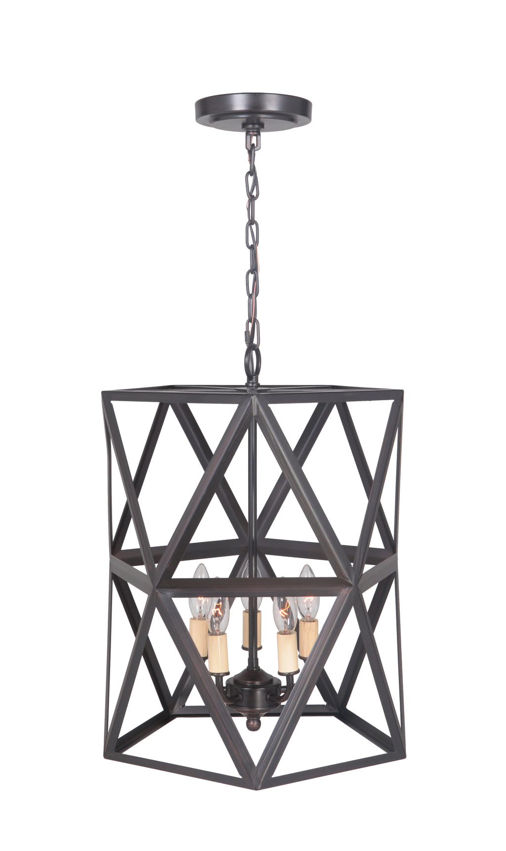 Hardwired Pendant Series 5-Lights Brushed Bronze Mini Chandelier with Cage shade PBCW-1011 - Worth Home Products