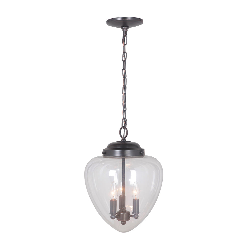 Hardwired Pendant Series 3-Lights Brushed Bronze Mini Chandelier with Clear Shade PBCW-1111 - Worth Home Products