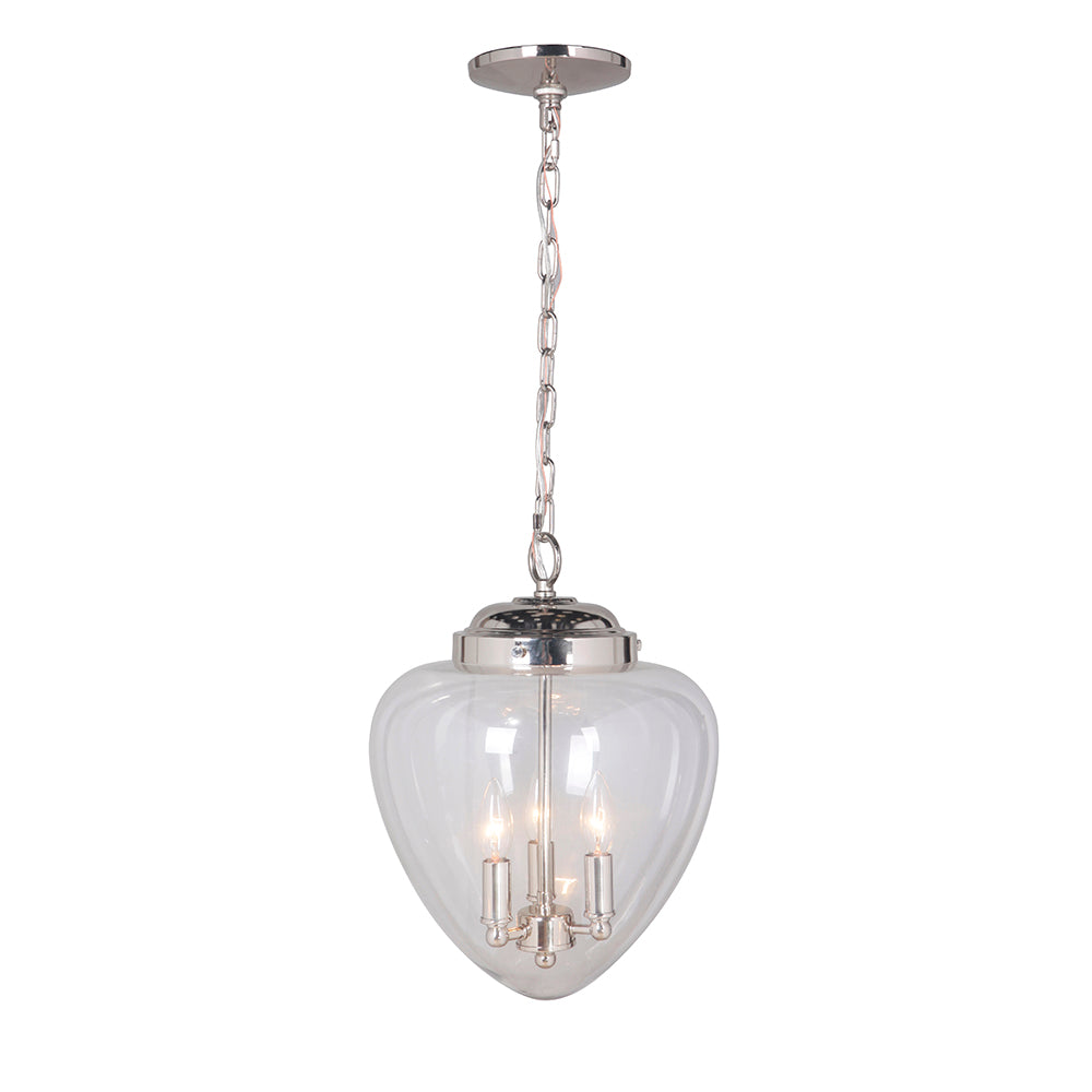 Hardwired Pendant Series 3-Lights Brushed Nickel Mini Chandelier with Clear Glass Shade PBCW-1131 - Worth Home Products