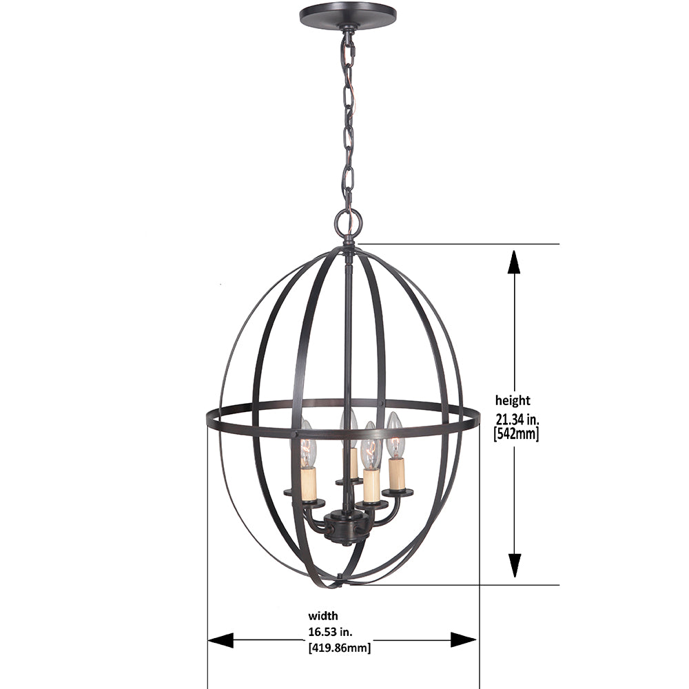 Hardwired Pendant Series 5-Lights Brushed Bronze Mini Chandelier with Circular Cage Shade PBCW-1211 - Worth Home Products