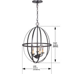 Load image into Gallery viewer, Hardwired Pendant Series 5-Lights Brushed Bronze Mini Chandelier with Circular Cage Shade PBCW-1211 - Worth Home Products