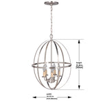 Load image into Gallery viewer, Hardwired Pendant Series 4-Lights Brushed Nickel Mini Chandelier with Circular Cage Shade PBCW-1230 - Worth Home Products